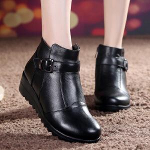 【头层牛皮】真皮短靴加绒新品冬季棉鞋真皮短靴新款靴子中老年妈妈鞋靴休闲加厚皮靴女3289SY