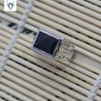 新款925银镀白金天然男士戒指板戒 时尚简约大气送男友 爸爸礼物