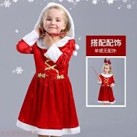 冬季儿童圣诞老人装扮衣服女童圣诞节表演服装演出服冬连衣裙 cos服装秋冬新款