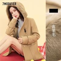 2018秋冬季新款高端过膝双面羊绒大衣女中长款宽松格子毛呢子外套