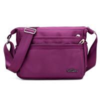 新款帆布单肩包尼龙牛津布斜挎包女包小包包防水轻便妈妈包中老年 深紫色812 款2