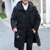 冬季新款中老年�L款�^膝男士羽�q服加厚爸爸冬�b�敉獗E�大�a外套
