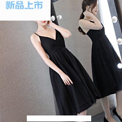 晚礼服2018春季吊带中长款小礼服赫本小黑裙派对宴会连衣裙女