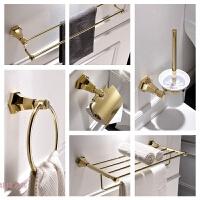 全铜欧式浴室洗手间五金卫浴金色毛巾架浴巾架挂件套装卫生间挂件