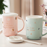 马克杯带盖勺子陶瓷杯小清新情侣咖啡杯办公室水杯泡茶杯子