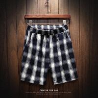 @ 夏季黑白格子短裤男潮流韩版复古直筒五分裤青年大码沙滩裤
