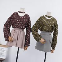 【满】13 秋季时尚气质女装长袖V领百搭碎花休闲上衣