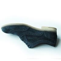 CUM 雕花皮鞋翻毛皮新款反绒磨砂牛皮男款休闲鞋低跟英伦系带鞋