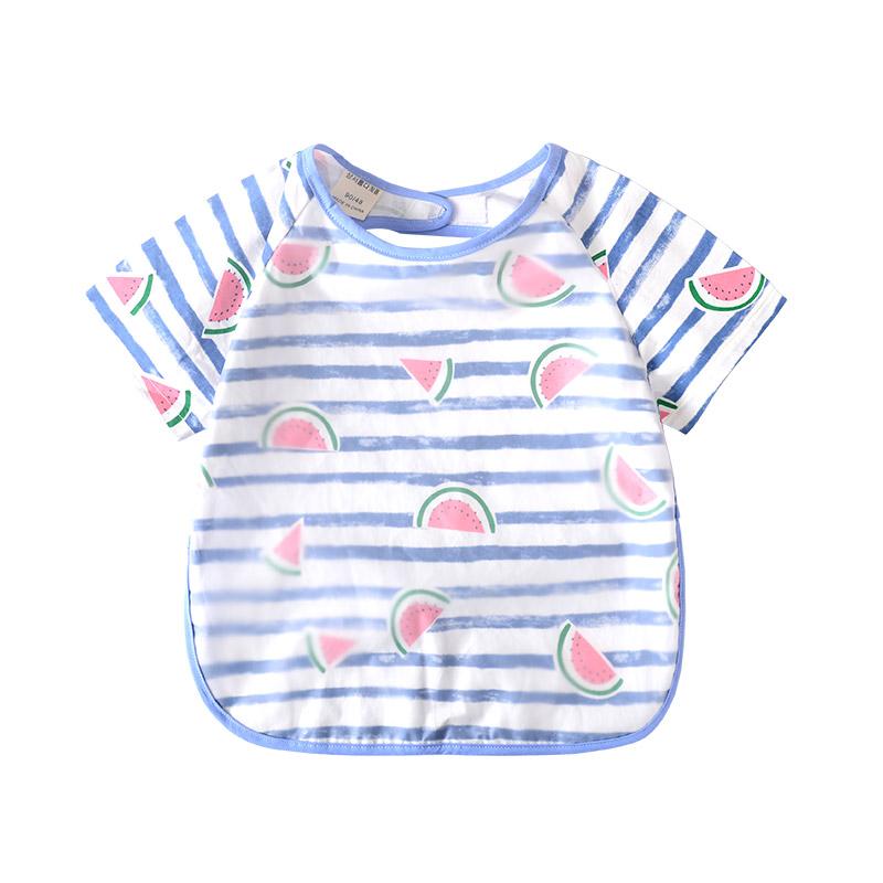 儿童罩衣宝宝防水口水吃饭围兜男女童夏季小孩画画喂饭反穿衣