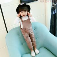 女童女宝宝洋气背带裤套装春装衣服婴儿童装3岁半韩版4长袖两件装