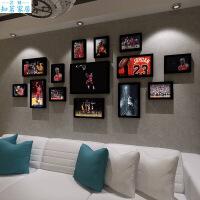 科比乔丹装饰画壁画酒吧挂画篮球NBA海报组合相框墙生活日用创意家居 2厘米厚度实木框