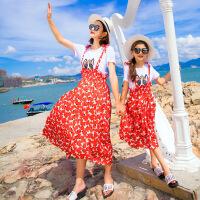 2019 母女装夏装新款亲子装韩版短袖两件套裙