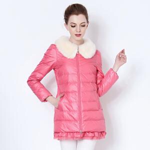 yaloo/雅鹿冬季羽绒服女中长款带毛领 韩版修身甜美糖果色外套