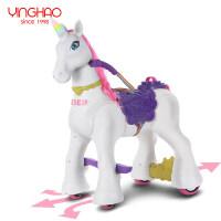 创意新款儿童玩具车独角兽娃娃女孩子3-6周岁宝宝四轮电动车玩具