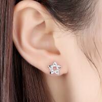 日韩国星星耳钉S925银气质耳环五角星镶嵌个性百搭配饰品潮