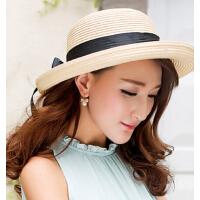 韩国女夏天大沿帽遮阳帽 草帽子沙滩帽 可折叠圆顶帽