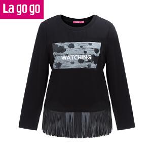 lagogo冬新款纯色圆领印花拼接流苏卫衣加绒长袖上衣百搭女装