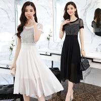 黑白色条纹连衣裙女夏季2018新款韩版修身显瘦中长款气质雪纺长裙
