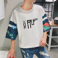 夏天时尚宽松短袖T恤男士2018五分袖印花上衣韩版潮流学生半截袖