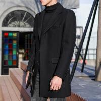 秋冬毛呢大衣男中长款修身韩版风衣潮流帅气英伦男士羊毛呢子外套