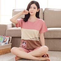 睡衣女韩版夏季女士纯棉短袖短裤卡通全棉休闲外穿家居服两件套装