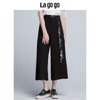 Lagogo拉谷谷2019夏季新款女装高腰宽松休闲裤通勤黑色阔腿裤长裤HAKK335F63