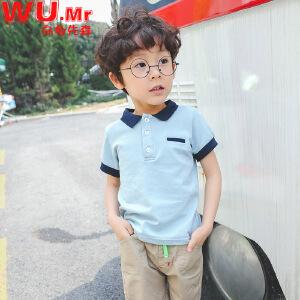 乌龟先森 儿童T恤 男童棉质翻领短袖单色上衣夏季韩版新款时尚休闲百搭打底衫中小童款式T恤