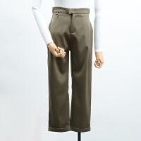 【CP】FSK21秋冬季新款高腰纯色双口袋休闲裤长裤潮