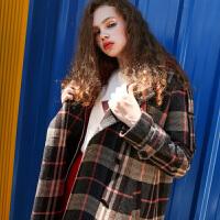 伊布都ibudu2017冬装新品复古宽松格子呢大衣毛呢外套E743701D0