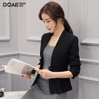 小西装女外套短款2018春季新款韩版V领时尚ol职业小西服女式上衣 黑色