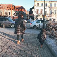 童冬装母女轻薄bf中长款羽绒服儿童宝宝白鸭绒亲子羽绒服