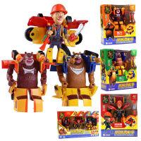 熊出没熊熊变形车合体光头强熊大熊二变形车公仔套装玩偶模型玩具