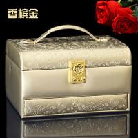 首饰盒带锁公主欧式韩国木质复古简约饰品盒生日耳环首饰收纳盒大