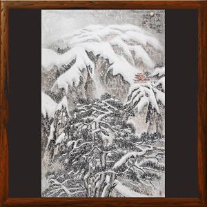 《松山瑞雪》李群臣 山东美协会员 东方雪景画创始人 天津美院毕业【R2353】
