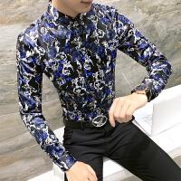 新款18秋冬男士印花长袖衬衫潮流韩版修身青年社会小伙免烫衬衣服