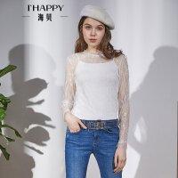 海贝2018春装新款女装甜美圆领长袖蕾丝衬衫白色打底单穿小衫