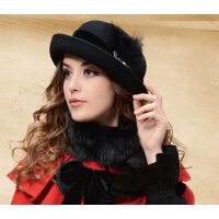英伦女王范儿冬季帽子女士帽子 羊毛呢帽春秋天  秋款礼帽韩版潮