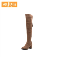 Safiya/索菲娅冬季新款时尚粗跟中跟修身女长靴子SF84117028