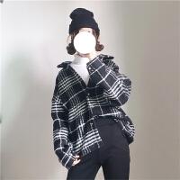 时尚女装秋冬韩国风百搭宽松显瘦长袖格子衬衣毛呢外套上衣潮