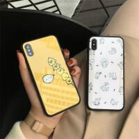 苹果6手机壳iPhone7玻璃壳6sp卡通可爱8plus防摔防滑x小清新女款
