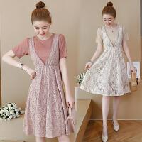 2018夏装新款韩版女装蕾丝两件套装裙子甜美少女心连衣裙