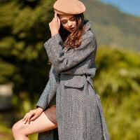 冬装新品 复古英伦人字纹呢子大衣宽松长款羊毛呢外套女