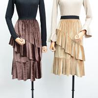 【5】FSK25秋冬季韩版新款时尚松紧腰纯色丝绒高腰半身裙