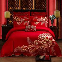 【包邮】伊迪梦家纺 高档婚庆大红四件套六件套十件套床上用品 全棉活性天锦绸贡缎提花绗缝夹棉1.8-2.0m米大床HC451
