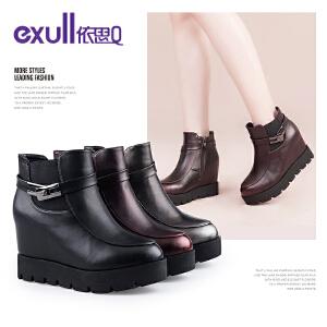 依思q冬季新款圆头厚底松糕底内增高短靴侧拉链女靴