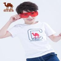 骆驼童装新品儿童短袖T恤男童潮休闲圆领纯棉透气印花上衣打底衫