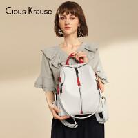 Clous KrauseCK新款双肩包拉链包休闲简约百搭时尚轻便女士包包多功能旅行通勤双肩包