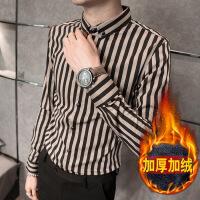 男士衬衫长袖修身型条纹男韩版夜店潮流帅气青少年发型师寸衫加绒