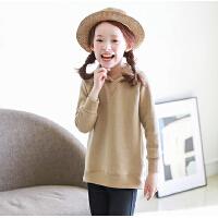秋冬女童卫衣韩版童装中大童加绒加厚连帽上衣
