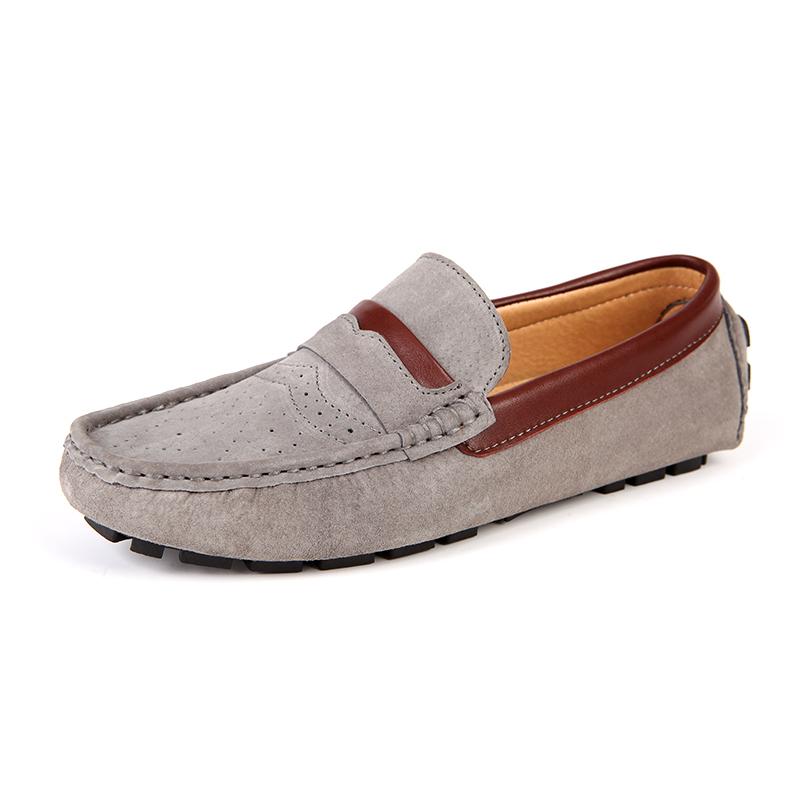 西瑞真皮商务休闲布洛克豆豆鞋男士懒人鞋反绒套脚鞋男鞋单鞋秋驾车鞋ZC2266